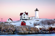 Maine Lighthouses Posters - Nubble Glow Poster by Susan Cole Kelly