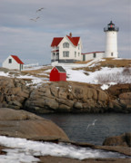 Cape Neddick Light Framed Prints - Nubble Light - Cape Neddick lighthouse seascape landscape rocky coast Maine Framed Print by Jon Holiday