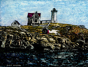New England Ocean Mixed Media Prints - Nubble Light - York Maine Print by Robert Goudreau