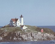 Nubble Lighthouse Digital Art Framed Prints - Nubble Light 1 Framed Print by Lin Grosvenor