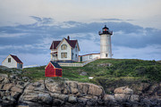 Maine Shore Framed Prints - Nubble Light at Dusk Framed Print by Eric Gendron