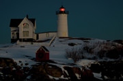 Nubble Light House Framed Prints - Nubble Light at Dusk Framed Print by Paul Mangold