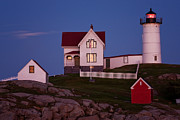 Nubble Lighthouse Posters - Nubble Light at Sunset Poster by Dawna  Moore Photography