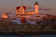 Cape Neddick Lighthouse Posters - Nubble Light at Sunset Poster by Paul Mangold