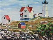 Nubble Lighthouse Painting Metal Prints - Nubble Light House Maine Metal Print by Richard Nowak