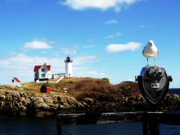 Nubble Lighthouse Posters - Nubble Light House Poster by Mary Capriole