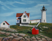 Maine Shore Painting Originals - Nubble Light House by Paul Walsh