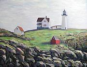 Nubble Lighthouse Painting Metal Prints - Nubble Light House Metal Print by Richard Nowak