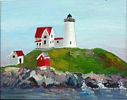 Nubble Lighthouse Painting Metal Prints - Nubble Light II Metal Print by Dillard Adams