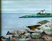 Nubble Lighthouse Painting Metal Prints - Nubble Light III Metal Print by Dillard Adams