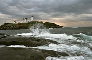 Nubble Lighthouse Framed Prints - Nubble Light in a Storm Framed Print by Richard Frost