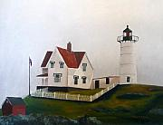 Nubble Lighthouse Painting Metal Prints - Nubble Light IV Metal Print by Dillard Adams