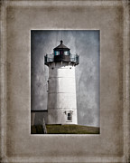 Light Blue Gray Posters - Nubble Light Maine Poster by Carol Leigh