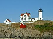 Nubble Lighthouse Posters - Nubble Light Poster by Margie Wildblood