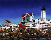 Nubble Lighthouse Painting Metal Prints - Nubble Light Metal Print by Paul Gardner