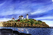 Nubble Lighthouse Painting Metal Prints - Nubble Light Summer Metal Print by Paul Gardner