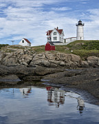 Cape Neddick Lighthouse Posters - Nubble Light with Reflection Poster by David DesRochers