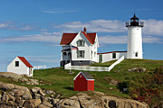 U.s.a. Flag Photos - Nubble Lighthouse - D002365 by Daniel Dempster