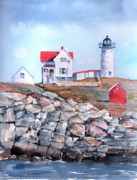 Lighthouses Paintings - Nubble Lighthouse - Maine by Arline Wagner