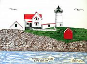 Maine Lighthouses Drawings Posters - Nubble Lighthouse at Cape Neddick Poster by Frederic Kohli