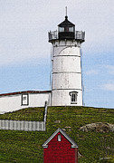 Shed Digital Art Prints - Nubble Lighthouse- Canvas Print by Luke Moore