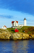Nubble Lighthouse Metal Prints - Nubble Lighthouse Metal Print by John Greim