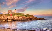 Nubble Lighthouse Framed Prints - Nubble Lighthouse Framed Print by Mark Stewart