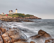 Nubble Lighthouse Framed Prints - Nubble Lighthouse Framed Print by Nicholas Palmieri