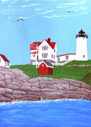 Cape Neddick Lighthouse Painting Metal Prints - Nubble Lighthouse Painting Metal Print by Frederic Kohli