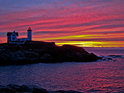 Nubble Lighthouse Framed Prints - Nubble Lighthouse Framed Print by Scott Moore
