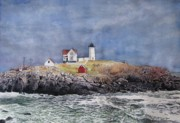 Nubble Lighthouse Painting Metal Prints - Nubble Lighthouse Metal Print by Sharon Farber