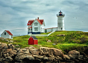 Maine Shore Digital Art Prints - Nubble Lighthouse Print by Tricia Marchlik