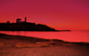 Lighthouse At Sunrise Posters - Nubble N Pink Poster by Emily Stauring