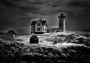 Nubble Lighthouse Digital Art Framed Prints - Nubble Night Framed Print by Tricia Marchlik