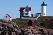 Nubble Lighthouse Prints - Nubble Point Lighthouse Print by George Oze