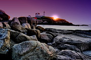 Nubble Lighthouse Prints - Nubble Rocks Print by Emily Stauring