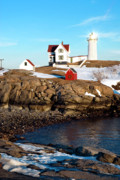 Nubble Light Framed Prints - Nubble Sun Burst Framed Print by Greg Fortier