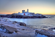 Nubble Lighthouse Framed Prints - Nubble Sunrise Framed Print by Susan Cole Kelly