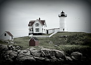 Nubble Lighthouse Digital Art Framed Prints - Nubble Framed Print by Tricia Marchlik
