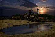 Nubble Lighthouse Digital Art Framed Prints - Nubble Framed Print by Wade Aiken