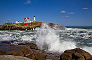 Cape Neddick Lighthouse Prints - Nubble Waves Print by Robert Clifford