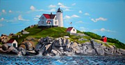 Nubble Lighthouse Painting Metal Prints - Nubble Metal Print by Welder Ramiro Vasquez