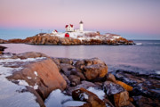 Cape Neddick Light Framed Prints - Nubble Winter Dusk Framed Print by Susan Cole Kelly