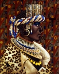 Leopard Face Prints - Nubian Prince Print by Jane Whiting Chrzanoska
