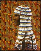 Ethnic Painting Metal Prints - Nubian Princess Metal Print by Jane Whiting Chrzanoska