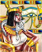 Black Top Drawings Posters - Nubian Queen Poster by Scarlett Royal