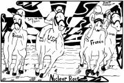 France Mixed Media Originals - Nuclear Arms Horse Race by Yonatan Frimer by Yonatan Frimer Maze Artist