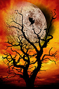 Tree Surreal Posters - Nuclear Moonrise Poster by Meirion Matthias