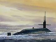 Nautical Print Painting Originals - Nuclear Submarine by James Williamson