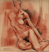 Nudes Drawings - Nude 007 by Edward Henrion